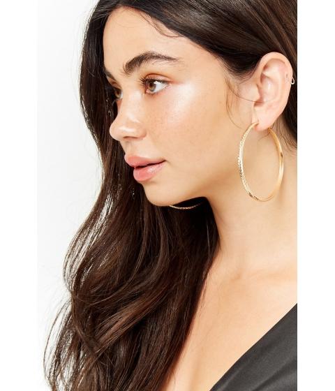 Bijuterii Femei Forever21 Chevron Hoop Earrings GOLD