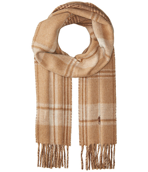 Accesorii Barbati Polo Ralph Lauren Reversible Stable Plaid Scarf Camel Malange