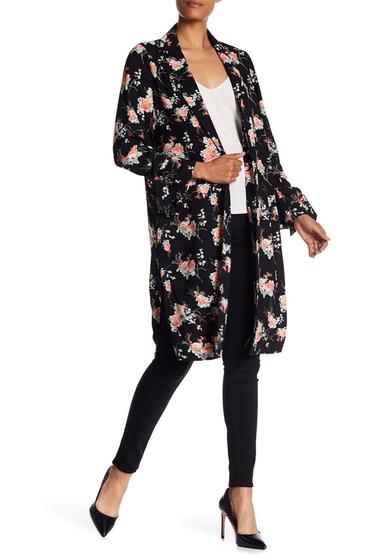 Imbracaminte Femei Lea Viola Floral Print Notch Collar Duster Coat BLACK FLORAL