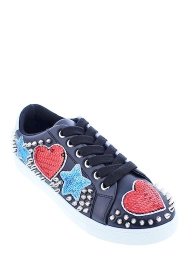 Incaltaminte Femei LILIANA Goyard Spike Embellished Sequin Patch Sneakers BLACK