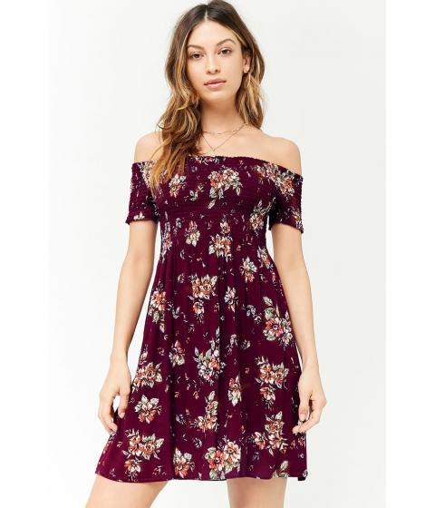 Imbracaminte Femei Forever21 Floral Off-the-Shoulder Dress BURGUNDYMULTI