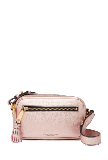 Genti Femei Marc Jacobs Metallic Zoom Leather Crossbody Bag ROSE GOLD