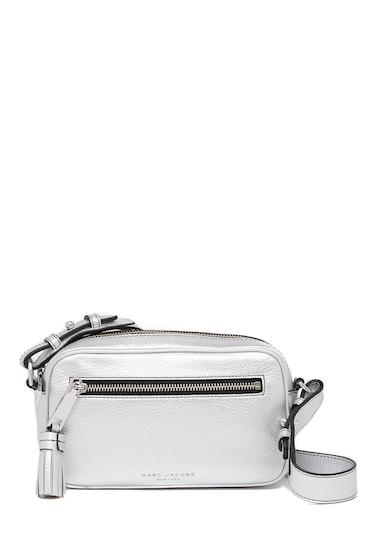 Genti Femei Marc Jacobs Metallic Zoom Leather Crossbody Bag SILVER