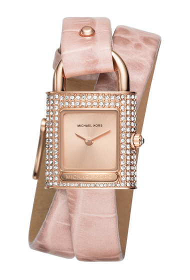 Ceasuri Femei MICHAEL Michael Kors Womens Isadore Rose Gold-Tone and Pink Leather Watch ROSE GOLDPINK