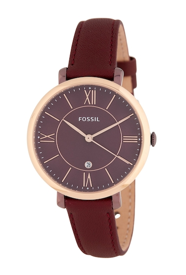 Ceasuri Femei Fossil Womens Jacqueline Leather Watch 36mm WINE