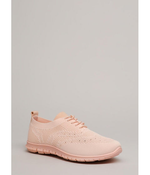 Incaltaminte Femei CheapChic Nice Day Out Textured Knit Sneakers Pink
