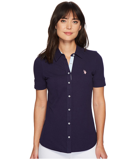 Imbracaminte Femei US Polo Assn Solid Button Front Short Sleeve Shirt Evening Blue