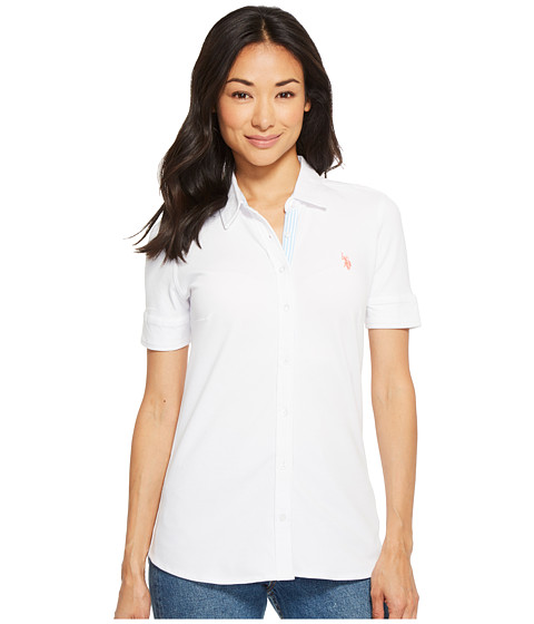 Imbracaminte Femei US Polo Assn Solid Button Front Short Sleeve Shirt Optic White