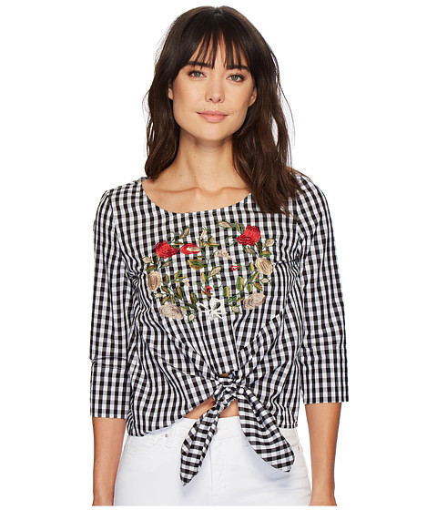 Imbracaminte Femei Romeo Juliet Couture Embroidered Front and Gingham Smock Waist Top BlackWhite