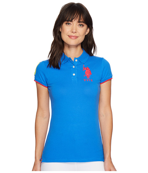Imbracaminte Femei US Polo Assn Contrast Patch Big Pony Polo Shirt Agean Blue