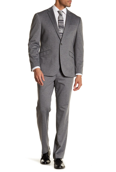 Imbracaminte Barbati Kenneth Cole Reaction Gray Marled Two Button Notch Lapel Techni-Cole Performance Trim Fit Suit LIGHT GREY KNIT