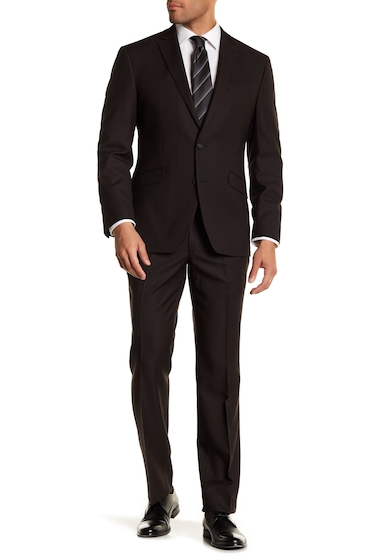 Imbracaminte Barbati Kenneth Cole Reaction Brown Pin Dot Two Button Notch Lapel Techni-Cole Performance Flex Fit Trim Fit Suit BROWN PIN DOT