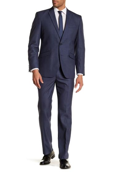 Imbracaminte Barbati Kenneth Cole Reaction Blue Sharkskin Two Button Notch Lapel Techni-Cole Performance Trim Fit Suit DENIM SHARKSKIN