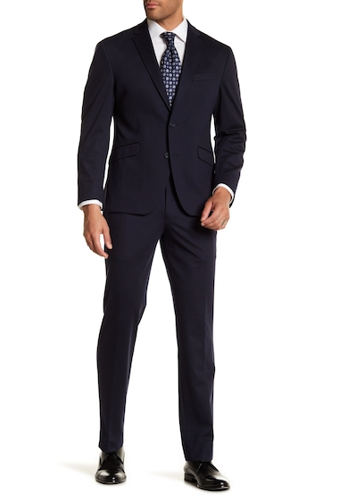 Imbracaminte Barbati Kenneth Cole Reaction Navy Blue Solid Two Button Notch Lapel Techni-Cole Performance Trim Fit Suit NAVY KNIT