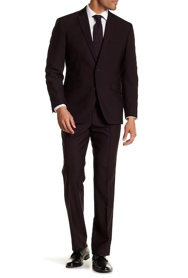 Imbracaminte Barbati Kenneth Cole Reaction Purple Solid Two Button Notch Lapel Techni-Cole Performance Trim Fit Suit BURGUNDY IRIDESCENT