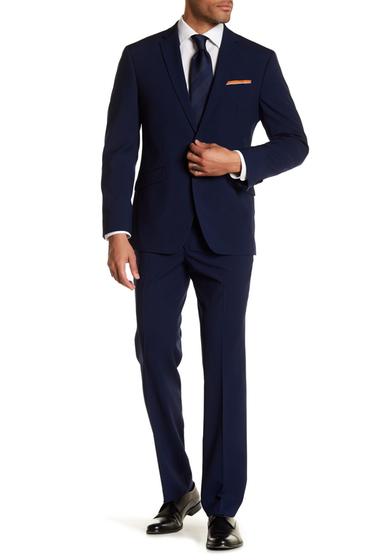 Imbracaminte Barbati Kenneth Cole Reaction Blue Plaid Two Button Notch Lapel Techni-Cole Performance Trim Fit Suit NAVY W BLUE GRID