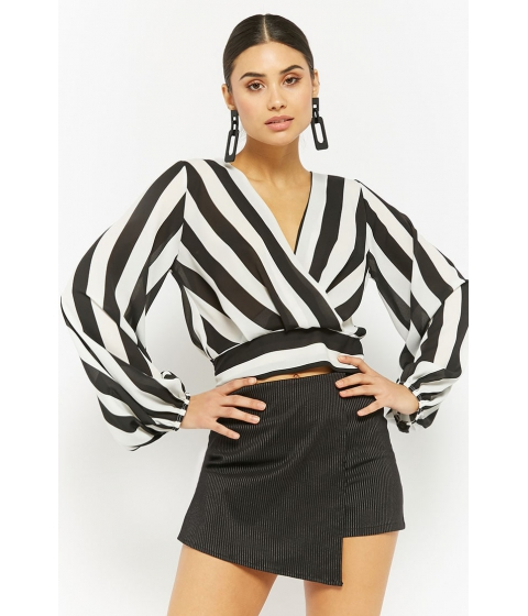 Imbracaminte Femei Forever21 Striped Chiffon Surplice Top BLACKWHITE