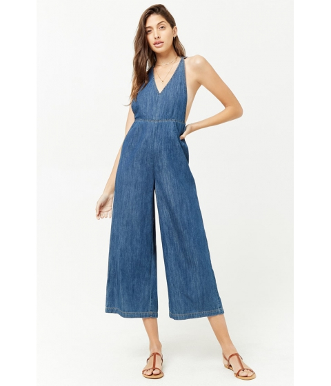 Imbracaminte Femei Forever21 Wide-Leg Denim Jumpsuit DENIM
