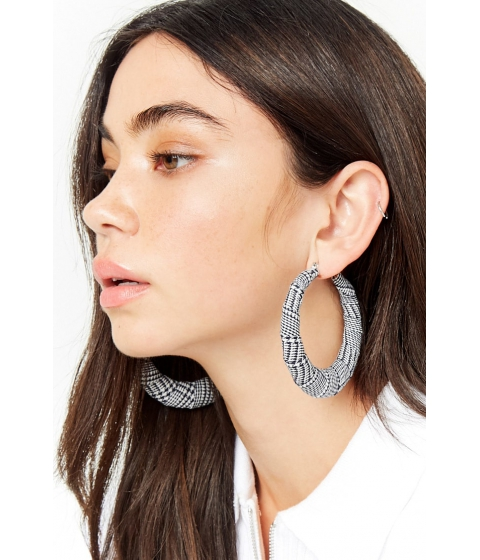 Bijuterii Femei Forever21 Houndstooth Hoop Earrings BLACKWHITE