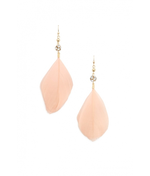 Bijuterii Femei Forever21 Feather Rhinestone Drop Earrings PEACH