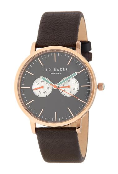 Ceasuri Barbati Ted Baker London Mens Leather Strap Watch 42mm NO COLOR