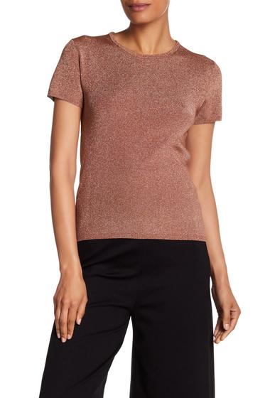 Imbracaminte Femei Tibi Metallic Knit Tee ROSE GOLD