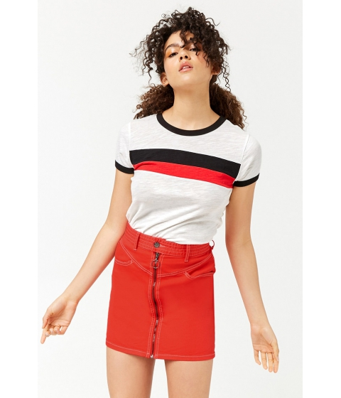 Imbracaminte Femei Forever21 Pull-Ring Mini Skirt RED