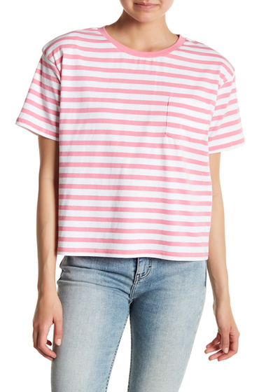 Imbracaminte Femei Abound Shoulder Pad Stripe Pocket Tee PINK Z KELY STP