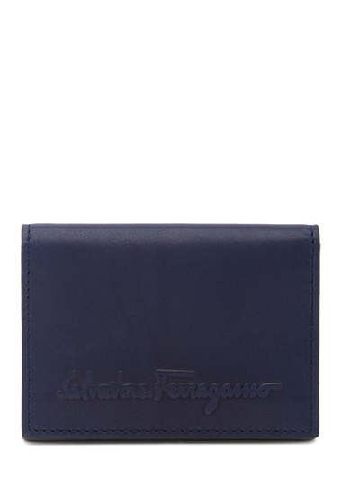 Accesorii Barbati Salvatore Ferragamo Logo Embossed Bifold Leather Wallet BLUE