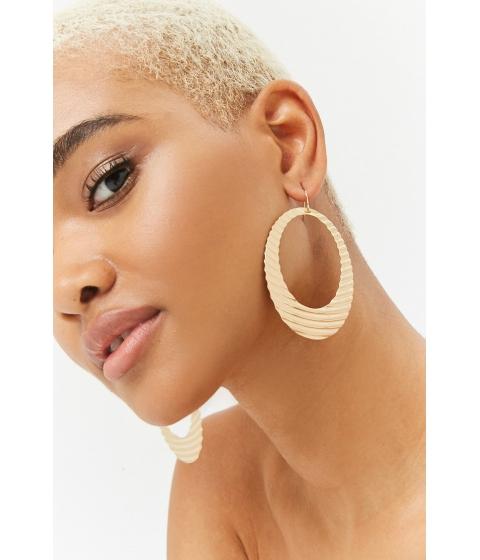 Bijuterii Femei Forever21 Textured Drop Hoop Earrings GOLD