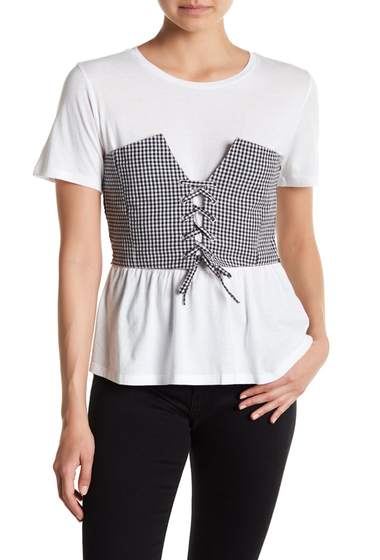 Imbracaminte Femei Abound Gingham Corset Tee WHITE KATIE GNG