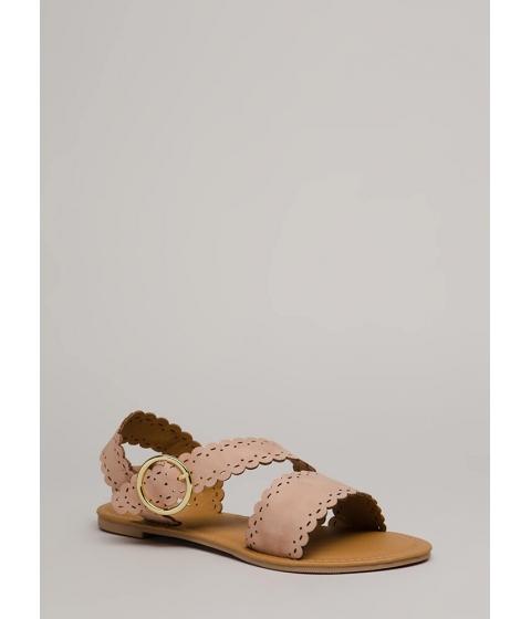 Incaltaminte Femei CheapChic Adored By All Scalloped Sandals Blush