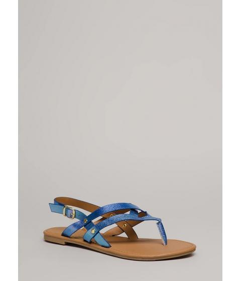 Incaltaminte Femei CheapChic Glow Up Strappy Iridescent Sandals Bluepurple