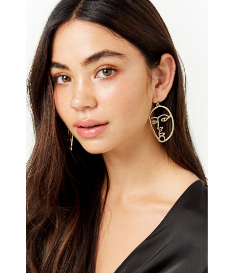 Bijuterii Femei Forever21 Cutout Face Drop Earrings GOLD