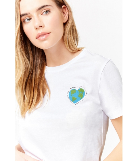 Imbracaminte Femei Forever21 Love Your Planet Graphic Tee WHITEBLUE