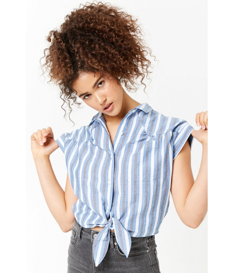 Imbracaminte Femei Forever21 Striped Pocket Shirt BLUENAVY