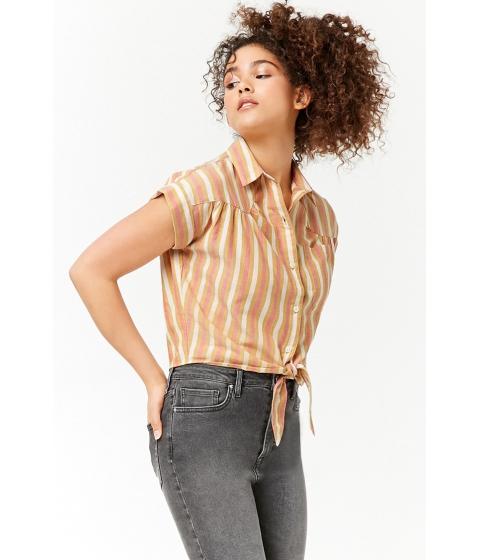 Imbracaminte Femei Forever21 Striped Pocket Shirt MUSTARDPINK