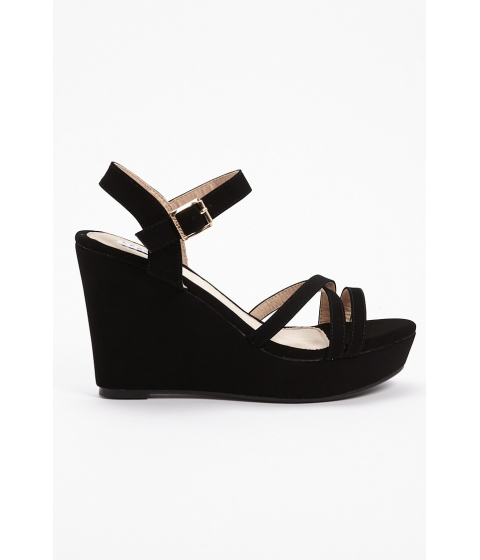 Incaltaminte Femei Forever21 Faux Leather Platform Wedges BLACK