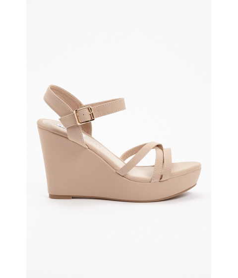 Incaltaminte Femei Forever21 Faux Leather Platform Wedges NUDE