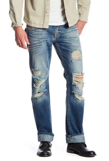 Imbracaminte Barbati True Religion Distressed Straight Leg Jeans ESZD HIDDEN NIGHTS WRIPS