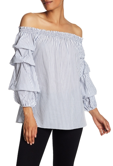 Imbracaminte Femei Max Studio Off-the-Shoulder Striped Tiered Blouson Sleeve Top WHTNVY
