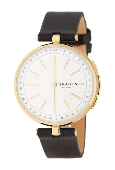 Ceasuri Femei Skagen Womens Signatur T-Bar Hybrid Smart Leather Strap Watch 36mm BLACKGOLD