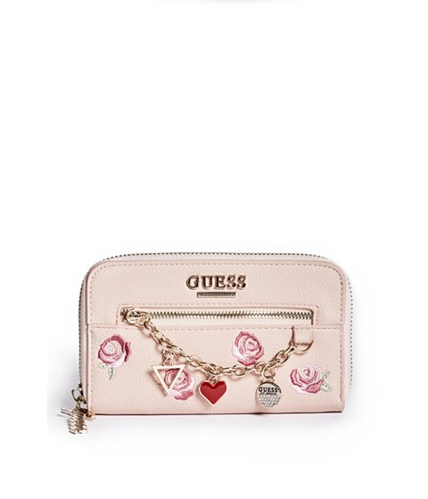 Accesorii Femei GUESS Alaina Charm Zip-Around Wallet blush multi
