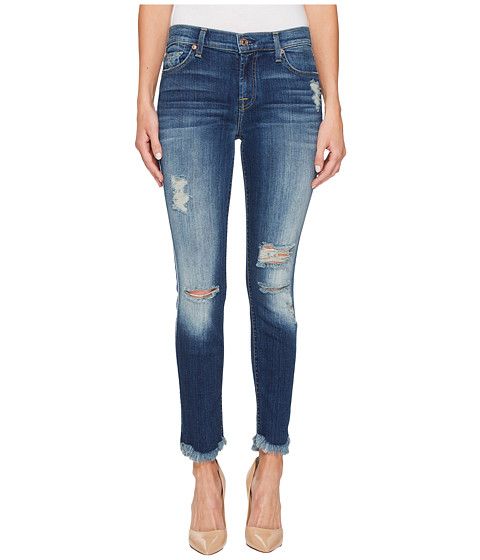 Imbracaminte Femei 7 For All Mankind Ankle Skinny w Destroy amp Scallop Hem in Liberty 3 Liberty 3