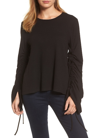 Imbracaminte Femei Vince Camuto Brushed Jersey Ruched Sleeve Top RICH BLACK