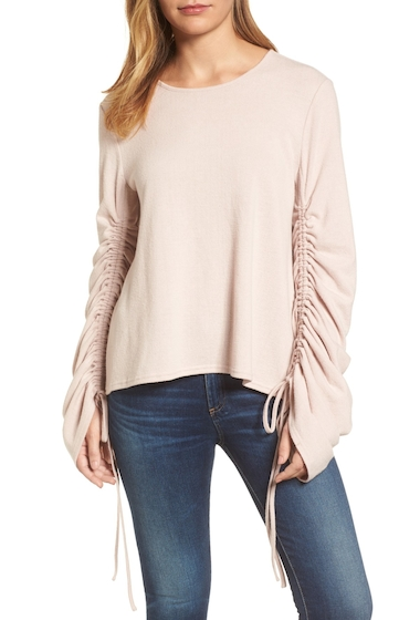 Imbracaminte Femei Vince Camuto Brushed Jersey Ruched Sleeve Top ROSE BUFF