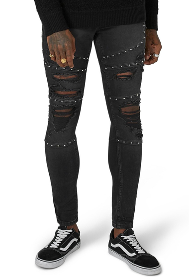 Imbracaminte Barbati TOPMAN Studded Spray-On Biker Jeans BLACK