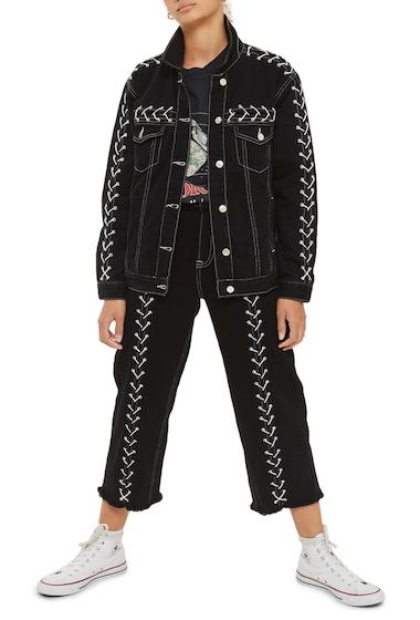 Imbracaminte Femei TOPSHOP Lace-Up Denim Jacket WASHED BLACK