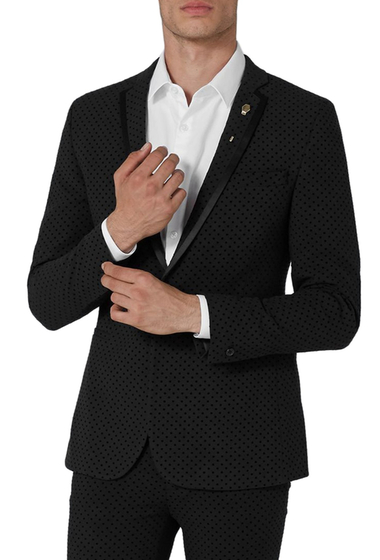 Imbracaminte Barbati TOPMAN Dotted Ultra Skinny Fit Suit Jacket BLACK