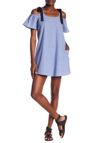 Imbracaminte Femei Vanity Room Woven Striped Cold Shoulder Swing Dress CHMBRY STP